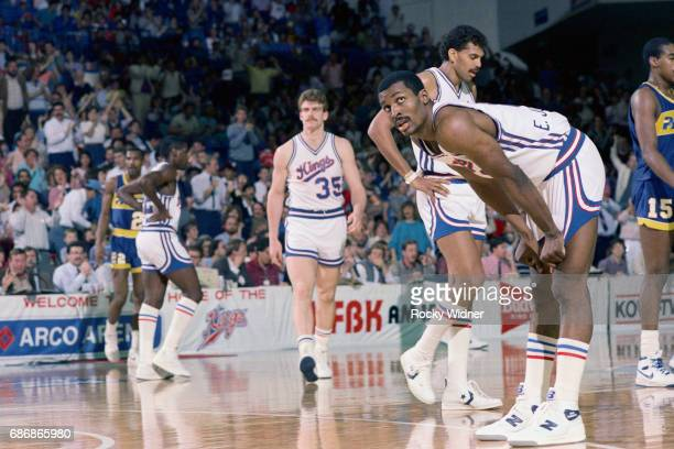 Eddie Johnson of the Sacramento Kings rests against the Indiana Pacers on February 28 1986 at Arco Arena in Sacramento California NOTE TO USER User...
