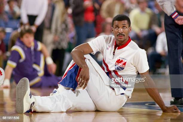 Eddie Johnson of the Sacramento Kings stretches against the Los Angeles Lakers during a game played circa 1987 at Arco Arena in Sacramento California...