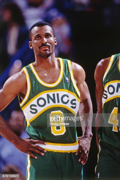 Eddie Johnson of the Seattle SuperSonics looks on against the Sacramento Kings circa 1992 at Arco Arena in Sacramento California NOTE TO USER User...