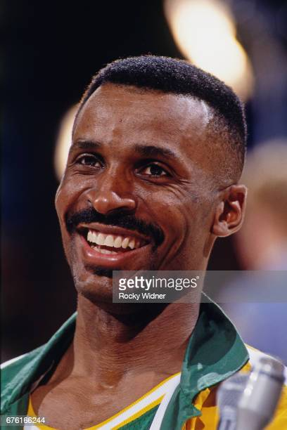 Eddie Johnson of the Seattle SuperSonics ooks on against the Sacramento Kings circa 1993 at Arco Arena in Sacramento California NOTE TO USER User...