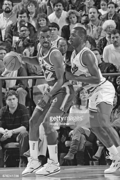 Eddie Johnson of the Seattle SuperSonics posts up against the Sacramento Kings circa 1991 at Arco Arena in Sacramento California NOTE TO USER User...