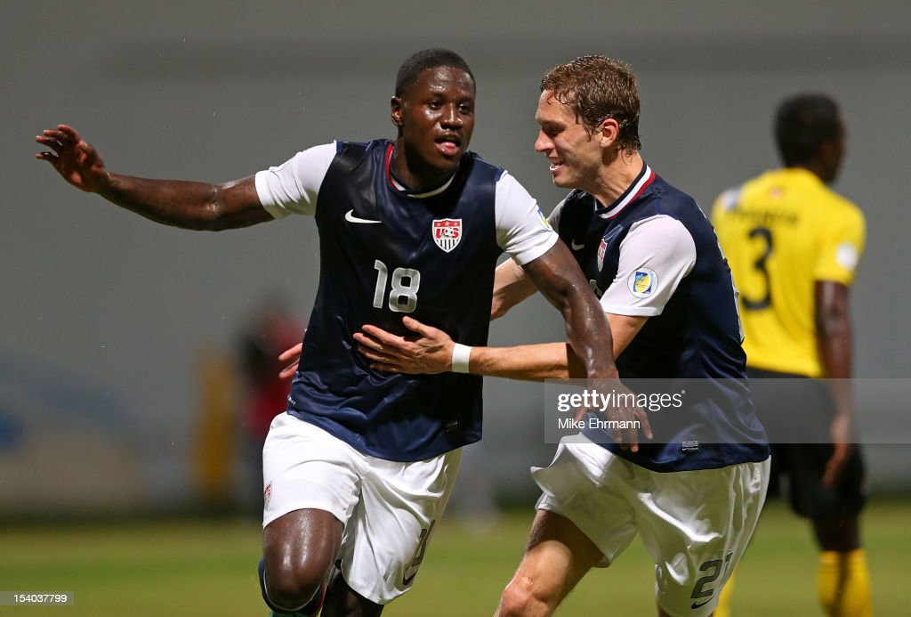 Eddie Johnson #18 of the United States celebrates scoring a goal during a World Cup Qualifying game against Antigua and Barbuda at Sir Vivian Richards Stadium on October 12, 2012 in Antigua, Antigua and Barbuda.