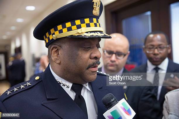 Eddie Johnson speaks to the press after being sworn in as Chicago Police Superintendent on April 13 2016 in Chicago Illinois Johnson had been acting...