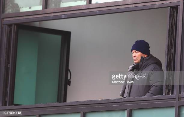 Eddie Jones England Rugby Coach looks on during the Gallagher Premiership Rugby match between Worcester Warriors and Bristol Bears at Sixways Stadium...