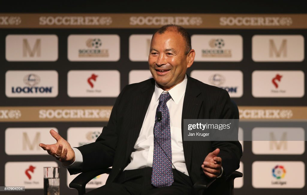 Eddie Jones, England Rugby Union Head Coach talks during day 2 of the Soccerex Global Convention at Manchester Central Convention Complex on September 5, 2017 in Manchester, England.