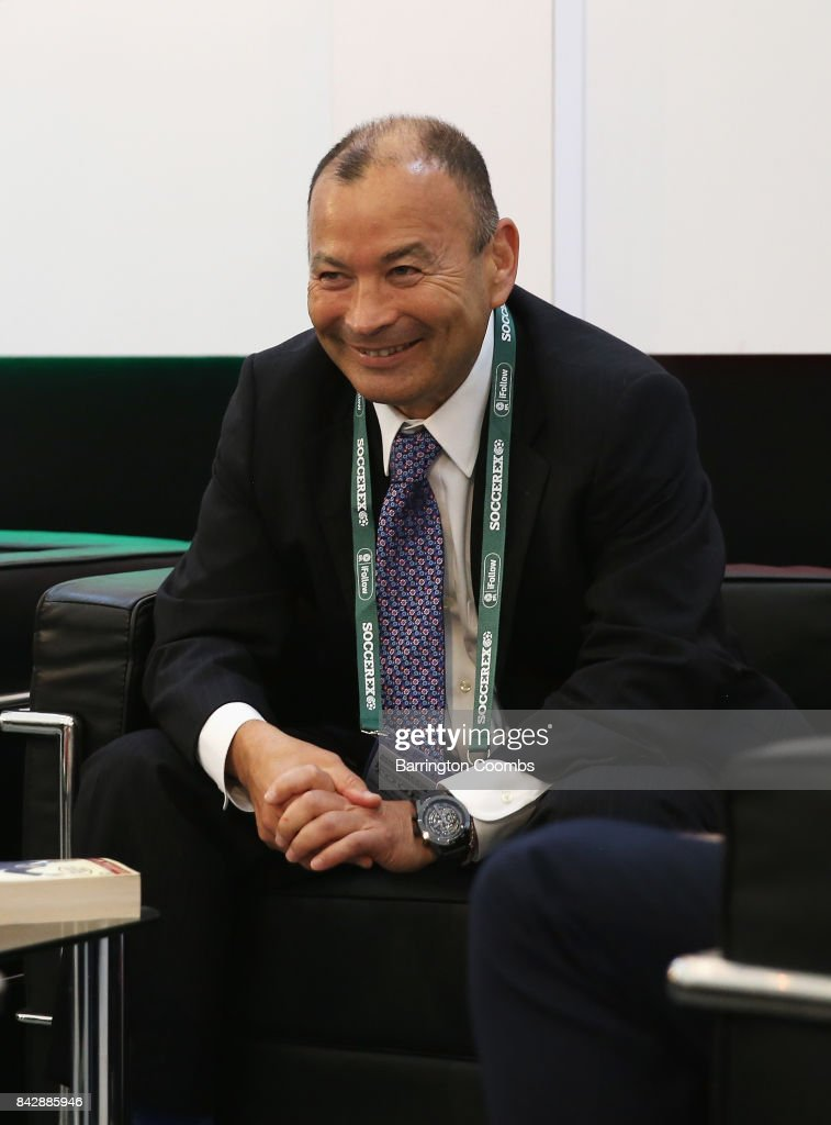 Eddie Jones, England Rugby Union Head Coach talks in the La Liga lounge during day 2 of the Soccerex Global Convention at Manchester Central Convention Complex on September 5, 2017 in Manchester, England.