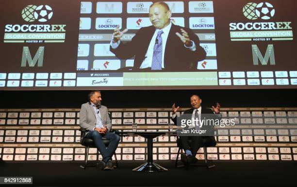 Eddie Jones England Rugby Union Head Coach talks with Guillem Balague Sky Sports Journalist during day 2 of the Soccerex Global Convention at...