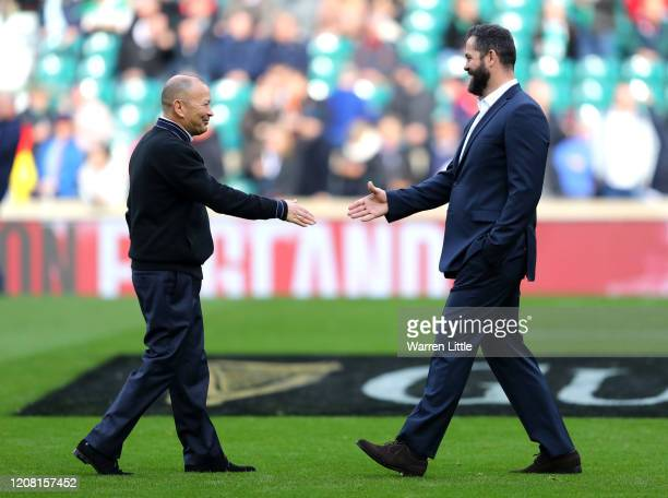 Eddie Jones, Head Coach of England and Andy Farrell, Head Coach of Ireland shake hands before the 2020 Guinness Six Nations match between England and...