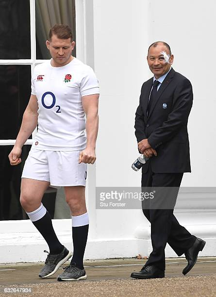 Eddie Jones Head Coach of England and Dylan Hartley Captain of England look on during the 2017 RBS Six Nations launch at The Hurlingham Club on...
