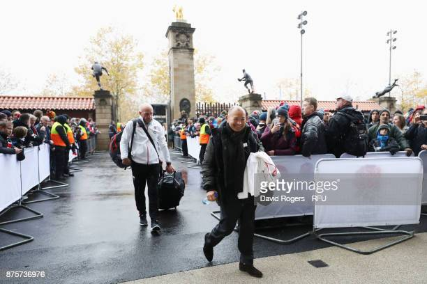 Eddie Jones head coach of England arrives at the stadium prior to the Old Mutual Wealth Series match between England and Australia at Twickenham...