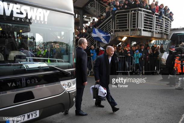 Eddie Jones, Head Coach of England arrives before the 2020 Guinness Six Nations match between Scotland and England at Murrayfield on February 08,...