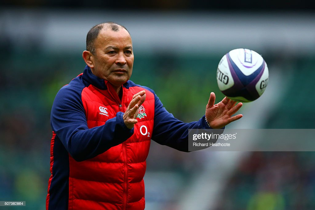 Eddie Jones, Head Coach of England catches a ball during an England Rugby open training session at Twickenham Stadium on January 29, 2016 in London, England.