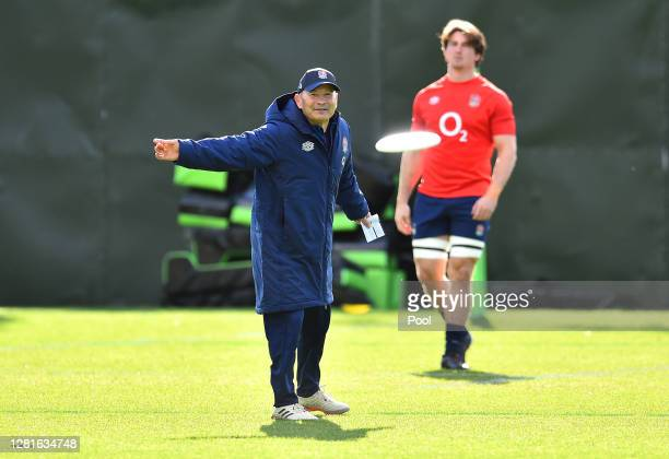 Eddie Jones Head coach of England catches a frisbee during a England training session at The Lensbury on October 22 2020 in Teddington England Photo...