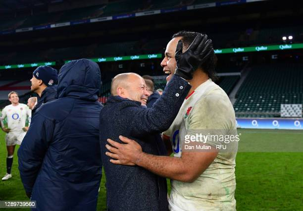 Eddie Jones, Head Coach of England celebrates with Billy Vunipola of England after the Autumn Nations Cup Final & Quilter International between...