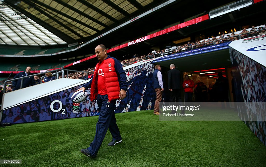 Eddie Jones, Head Coach of England during an England Rugby open training session at Twickenham Stadium on January 29, 2016 in London, England.