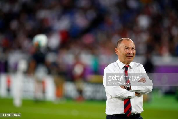 Eddie Jones head coach of England during the Rugby World Cup 2019 Semi-Final match between England and New Zealand at International Stadium Yokohama...