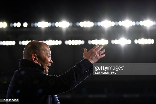 Eddie Jones, Head Coach of England gestures following his side's victory during the England v Ireland Quilter International match, part of the Autumn...