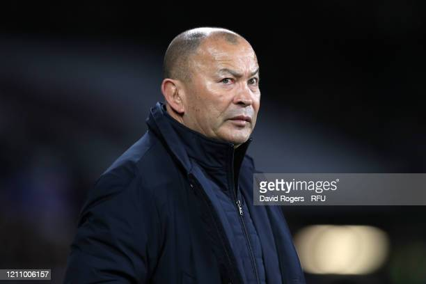 Eddie Jones, Head Coach of England looks on after the 2020 Guinness Six Nations match between England and Wales at Twickenham Stadium on March 07,...
