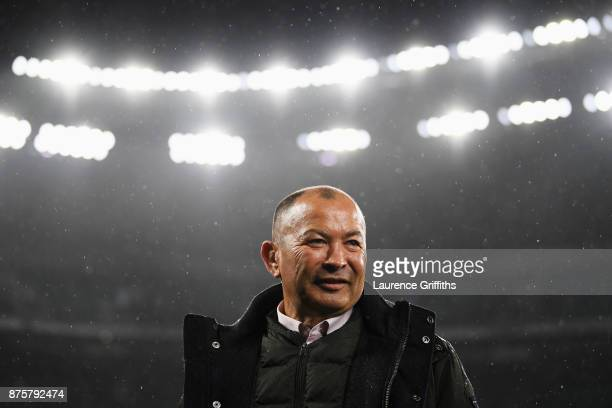 Eddie Jones head coach of England looks on after the Old Mutual Wealth Series match between England and Australia at Twickenham Stadium on November...
