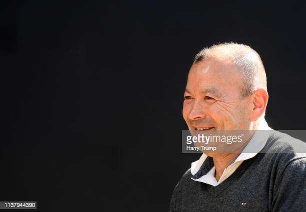 Eddie Jones Head Coach of England looks on as he arrives prior to kick off during the Gallagher Premiership Rugby match between Exeter Chiefs and...