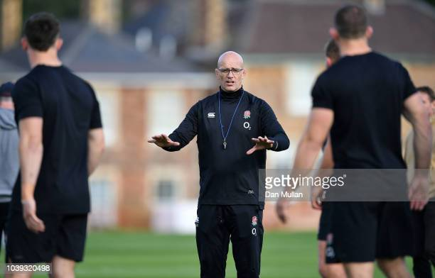 Eddie Jones Head Coach of England looks on during a training session at Clifton College on September 24 2018 in Bristol England
