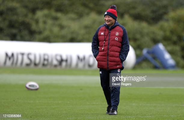 Eddie Jones, Head Coach of England looks on during a training session ahead of their Guinness Six Nations match against Wales at Pennyhill Park on...