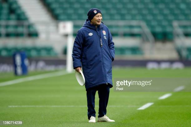 Eddie Jones Head Coach of England looks on during an England rugby training session at Twickenham Stadium on October 17 2020 in London England