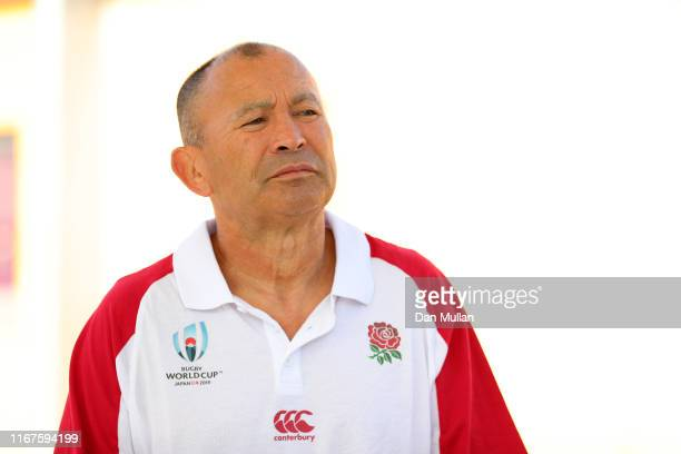 Eddie Jones Head Coach of England looks on during the England Rugby World Cup squad announcement at Blaise High School on August 12 2019 in Bristol...