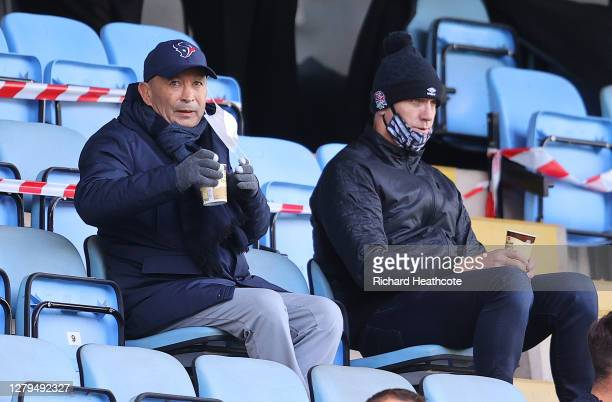Eddie Jones Head Coach of England looks on from the stands during the Gallagher Premiership Rugby first semifinal match between Wasps and Bristol...