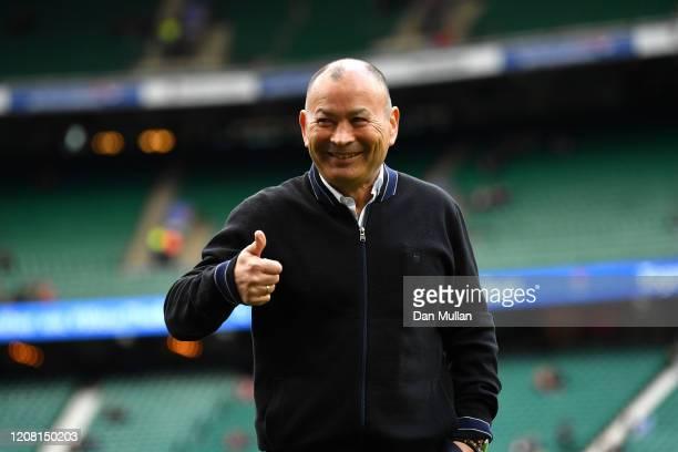 Eddie Jones, Head Coach of England looks on prior to the 2020 Guinness Six Nations match between England and Ireland at Twickenham Stadium on...