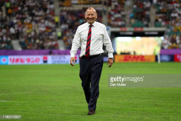 Eddie Jones, Head Coach of England looks on prior to the Rugby World Cup 2019 Quarter Final match between England and Australia at Oita Stadium on...