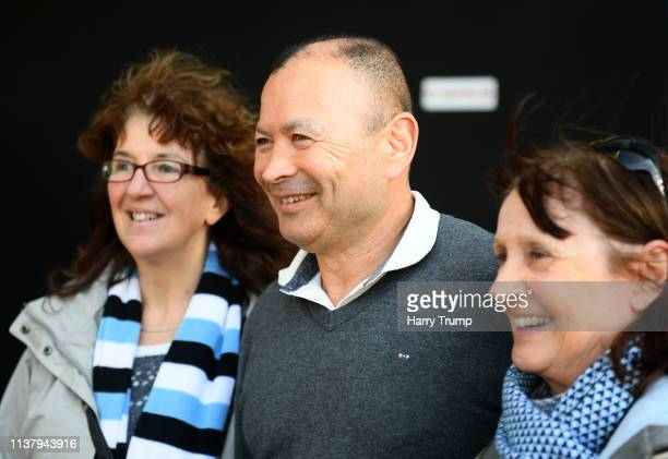 Eddie Jones Head Coach of England poses for a photo with Exeter Chiefs fans during the Gallagher Premiership Rugby match between Exeter Chiefs and...