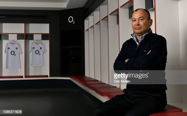 Eddie Jones Head Coach of England poses for a portrait in the home changing room at Twickenham Stadium on January 17 2019 in London England