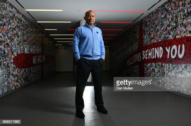 Eddie Jones head coach of England poses prior to a press conference to announce the England 6 Nations squad at Pennyhill Park on January 18 2018 in...