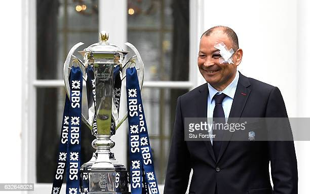 Eddie Jones Head Coach of England poses with the 6 Nations Trophy during the 2017 RBS Six Nations launch at The Hurlingham Club on January 25 2017 in...