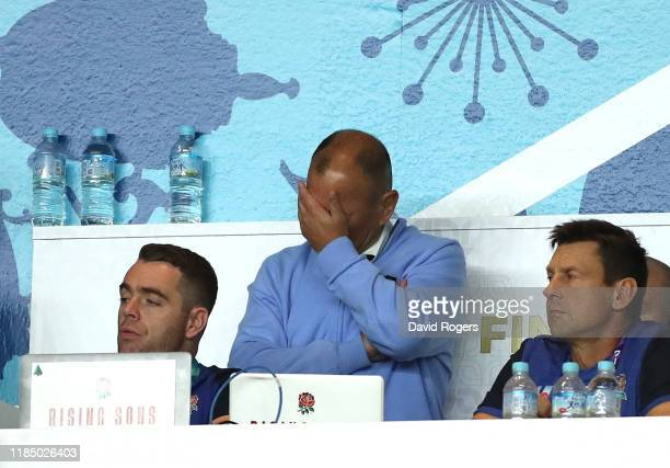 Eddie Jones Head Coach of England reacts during the Rugby World Cup 2019 Final between England and South Africa at International Stadium Yokohama on...
