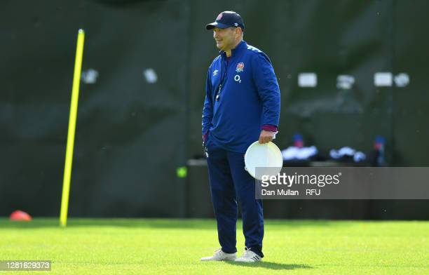 Eddie Jones Head coach of England smiles during a England training session at The Lensbury on October 22 2020 in Teddington England