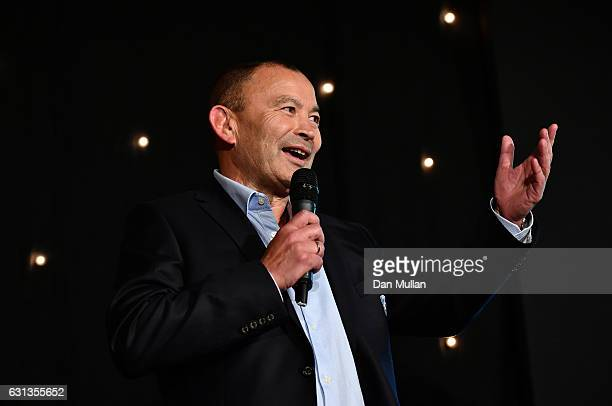 Eddie Jones Head Coach of England speaks after being presented with the Rugby Union Writers' Club Pat Marshall Award during the Rugby Union Writers'...