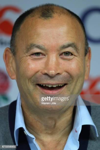 Eddie Jones Head Coach of England speaks during a press conference at Twickenham Stadium on April 20 2017 in London England