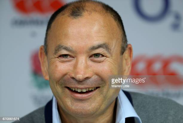 Eddie Jones Head Coach of England speaks during a press conference at Twickenham Stadium on April 20 2017 in London England