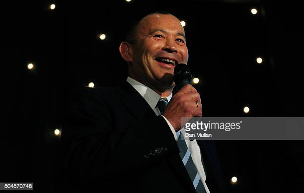 Eddie Jones Head Coach of England speaks during the Rugby Union Writers' Club Annual Dinner Awards on January 12 2016 in London England