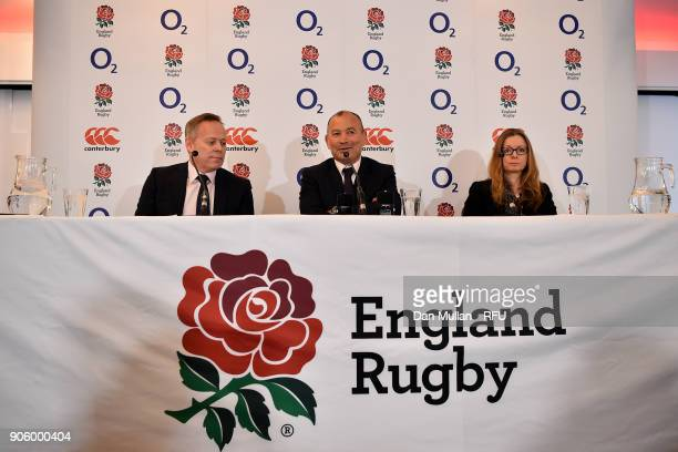 Eddie Jones Head Coach of England speaks to the media alongside Steve Brown Rugby Football Union Chief Executive Officer and Joanna ManningCooper RFU...