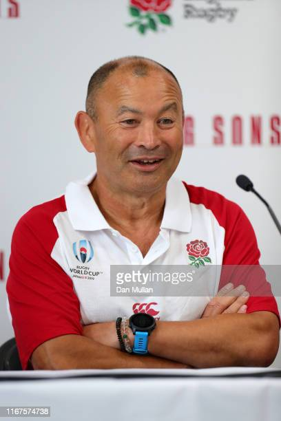 Eddie Jones Head Coach of England speaks to the media during a press conference during the England Rugby World Cup squad announcement at Blaise High...
