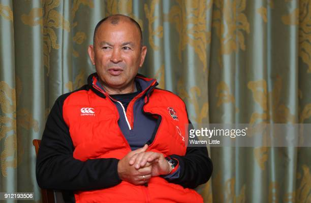 Eddie Jones head coach of England speaks to the media during an England press conference at Pennyhill Park on January 30 2018 in Bagshot England