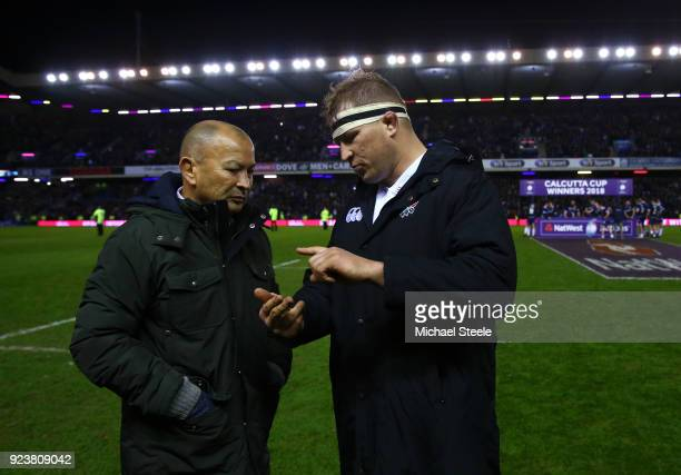 Eddie Jones Head Coach of England talks with Dylan Hartley after defeat in the NatWest Six Nations match between Scotland and England at Murrayfield...