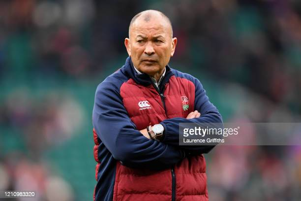 Eddie Jones, Head Coach of England watches over the warm up prior to the 2020 Guinness Six Nations match between England and Wales at Twickenham...