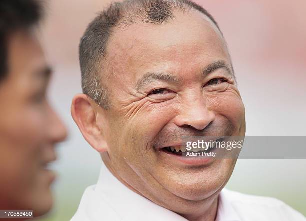 Eddie Jones head coach of Japan celebreates after the international friendly between Japan and Wales at Prince Chichibu Stadium on June 15 2013 in...