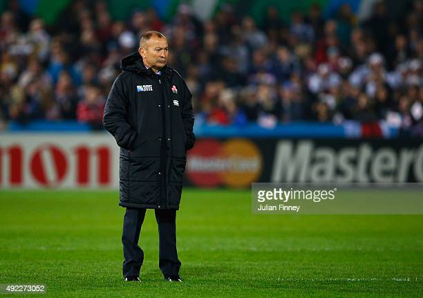 Eddie Jones Head Coach of Japan looks on during the 2015 Rugby World Cup Pool B match between USA and Japan at Kingsholm Stadium on October 11 2015...
