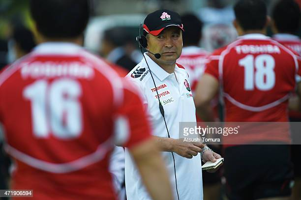 Eddie Jones head coach of Japan looks on during the Asian Rugby Championship game between Japan and Hong Kong at Prince Chichibu Stadium on May 2...