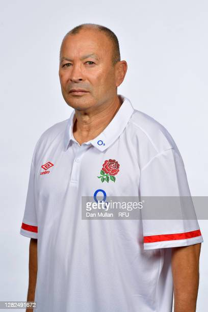 Eddie Jones Head Coach poses for a portrait during the England Squad Photo call at The Lensbury on October 19 2020 in Teddington England